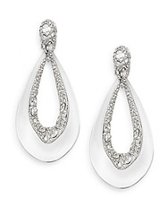 Alexis Bittar Deco Lucite And Crystal Loop Drop Earrings Clear