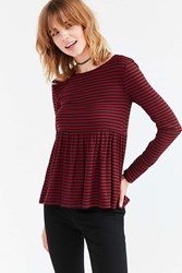 Kimchi And Blue First Date Long Sleeve Peplum Tee Maroon