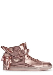Buscemi 100Mm Rose Gold Leather Hi Top Trainers