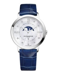 Baume And Mercier Classima Diamond Mother Of Pearl Stainless Steel And Patent Alligator Moon Phase Strap Watch Silver Blue