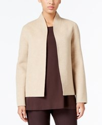 Eileen Fisher Open Front High Collar Jacket Oatmeal