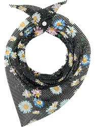 Paco Rabanne Floral Chainmail Neck Scarf Black