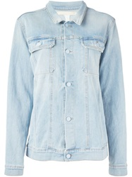 Off White Beaded Fringe Denim Jacket Blue