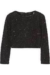 Alice Olivia Lacey Cropped Embellished Tulle Top Black