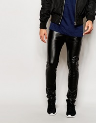 Religion Faux Leather Trousers In Skinny Fit Black