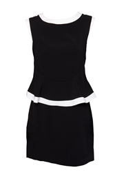Indulgence Peplum Mid Length Dress Black White