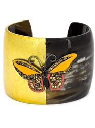 Mcl By Matthew Campbell Laurenza Butterfly Motif Horn Cuff Black