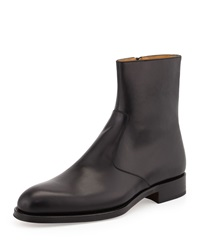 Magnanni For Neiman Marcus Leather Short Zip Boot Black