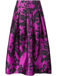 Oscar De La Renta Floral Print Full Skirt Pink And Purple