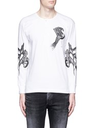 Saam1 'Sweet Pea' Dragon Embroidery Henley Shirt White