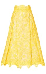 Costarellos Midi Brocade Organza Skirt Yellow