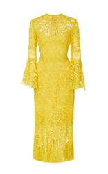 Lela Rose Flounce Sleeve Fitted Dress Yellow