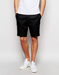 Asos Slim Smart Shorts In Linen Mix Black