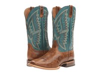 Ariat Hesston Peppered Tan Teal Blue Cowboy Boots Brown