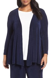 Vikki Vi Plus Size Women's Open Front Swing Cardigan Navy