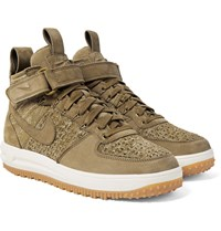 Nike Lunar Force 1 Workboot Suede And Flyknit High Top Sneakers Beige