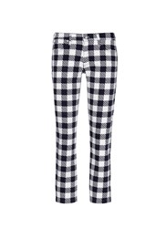 Victoria Beckham Gingham Print Cropped Jeans Multi Colour
