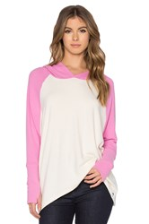 Michael Lauren Ivo Oversized Raglan Hooded Pullover Pink