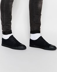 Asos Lace Up Plimsolls In Black Canvas With Toe Cap