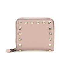 Valentino Rockstud Leather Wallet Beige