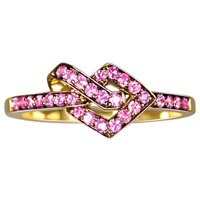 She Adorns Pink Sapphire Knot Ring Gold