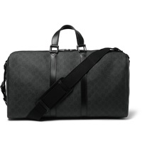 Gucci Monogrammed Textured Leather Holdall Gray