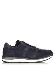 Moncler Montego Suede And Nylon Trainers Blue Multi