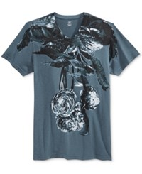 Inc International Concepts Men's Plants Graphic Print V Neck T Shirt Only At Macy's Dark Slate