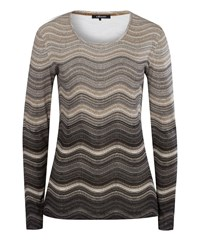 Olsen Wave Stripe T Shirt Beige