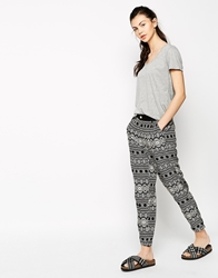Sugarhill Boutique Geo Tribal Tapered Pants Blackoffwhite