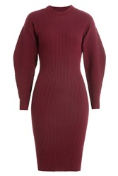 Thierry Mugler Wool Dress With Voluminous Sleeves Red