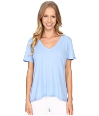 The Beginning Of Olivia V Neck High Low Tee French Blue Women's Short Sleeve Pullover