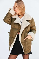 Silence And Noise Jessa Sherpa Lined Puffer Coat Olive