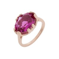 Cabinet Rose Gold Plated Swarovski Crystal Beetle Oval Ring Purple