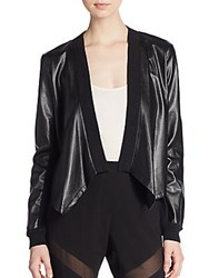 Bcbgmaxazria Madilyn Faux Leather Draped Cardigan Black