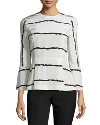Derek Lam Striped Silk Bell Sleeve Blouse Soft White Soft White Multi