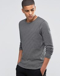 Selected Homme Striped Crew Neck Sweat Caviar Black