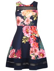 Izabel London Vintage Style Skater Dress Navy