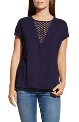 Women's Two By Vince Camuto Lace Inset Short Sleeve Tee Evening Navy