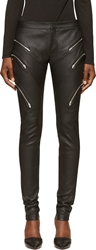 Jay Ahr Black Grained Leather Zipped Trousers