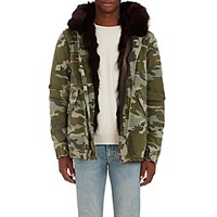 Mr And Mrs Italy Men's Camouflage Cotton Fur Parka Green