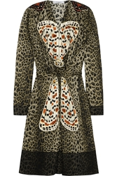 Givenchy Leopard Print Silk Dress With Butterfly Appliqua