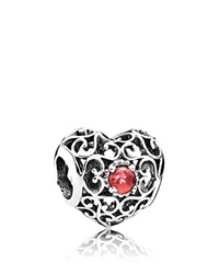 Pandora Design Pandora Charm Sterling Silver And Garnet January Signature Heart