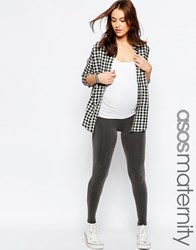 Asos Maternity Acid Wash Grey Legging With Zip Detail Grey