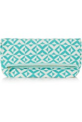 Sophie Anderson Abril Leather Trimmed Crocheted Cotton Clutch Turquoise