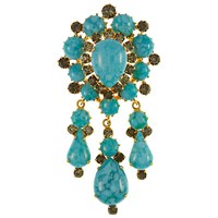 Eclectica Vintage 1960S Turquoise Drop Brooch Turquoise