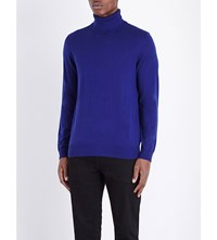 The Kooples Leather Trim Wool Jumper Blue