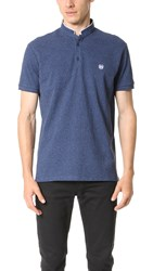 The Kooples Sport Contrast Trim Officer Collar Polo Blue