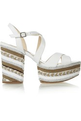 Paloma Barcelo Braided Leather Platform Sandals White