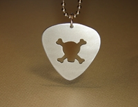 Aluminum Guitar Pick Pendant With Skull And Cross By Nicilaskin